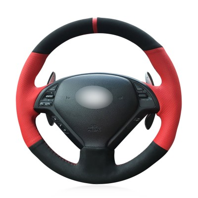Loncky Auto Black Suede Red Genuine Leather Custom Steering Wheel Covers for Infiniti G37 Q60 QX50 G35 EX35 EX25 EX37 Q40 Infiniti IPL G Sedan Suv Accessories