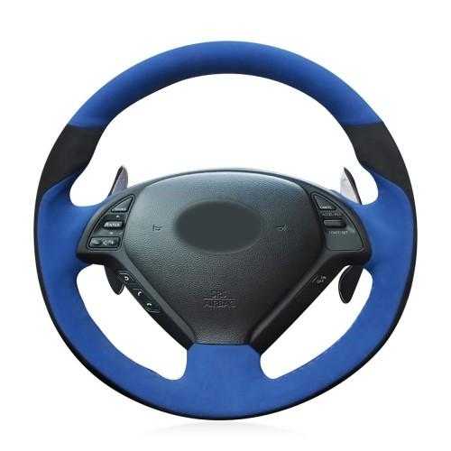Loncky Auto Black Blue Suede Custom Steering Wheel Cover for Infiniti G37 Q60 QX50 G35 EX35 EX25 EX37 Q40 Infiniti IPL G Sedan Suv Accessories
