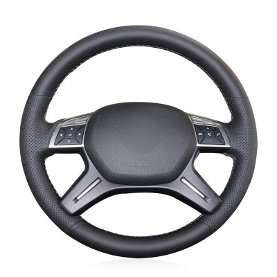Loncky Auto Custom Fit Black Genuine Leather Black Suede Steering Wheel Cover for Mercedes Benz GL350 BlueTEC / GL450 4MATIC / GL550 4MATIC / Mercedes Benz ML250 BlueTEC 4MATIC / ML350 / ML350 4MATIC / ML400 4MATIC / ML550 4MATIC Accessories