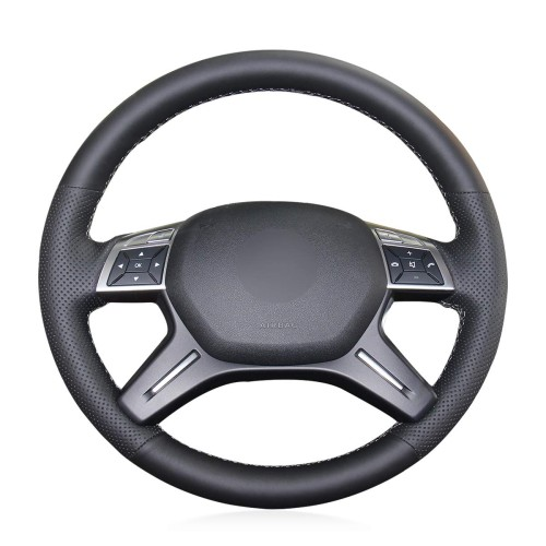 Loncky Auto Custom Fit Black Genuine Leather Black Suede Steering Wheel Cover for Mercedes Benz GL350 BlueTEC GL450 4MATIC GL550 4MATIC Mercedes Benz ML250 BlueTEC 4MATIC ML350 ML350 4MATIC ML400 4MATIC ML550 4MATIC Accessories