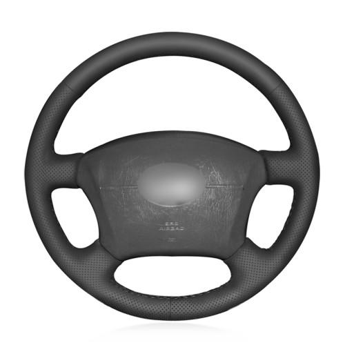 Loncky Auto Custom Fit OEM Black Genuine Leather Car Steering Wheel Cover for Lexus GX470 2003-2009 / Lexus LX470 1998 1999 2000 2001 2002 2003 2004 2005 2006 2007 / Lexus LX450 1996 1997 Interior Accessories