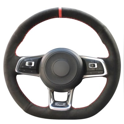Loncky Black Suede Black Leather Auto Custom Steering Wheel Covers for 2015 2016 2017 2018 2019 VW Jetta GLI 2015 2016 2017 2018 2019 VW Golf R 2015 2016 2017 2018 2019 VW Golf 7 MK7 Golf GTI  Interior Accessories Parts