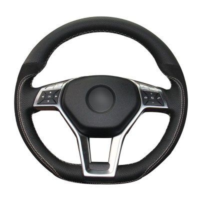 Loncky Auto Custom Fit Black Genuine Leather Black Suede Steering Wheel Cover for Mercedes Benz C350 C250 C300 / CLA250 CLS550 / E250 E350 E400 E550 / GLA45 AMG / SL550 SL400 SLK250 SLK300 SLK350 Accessories