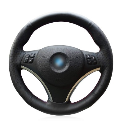 Loncky Auto Black Genuine Leather Custom Fit Car Steering Wheel Cover for BMW 128i 135i BMW 325i 328i BMW 328 xi BMW 328 i xDrive BMW 330 xi BMW 335i 335 xi BMW 335 d BMW 335 i xDrive Accessories Parts