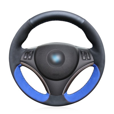 Loncky Auto Black Blue Suede Black Genuine Leather Custom Steering Wheel Cover for BMW 128i 135i BMW 325i 328i BMW 328 xi BMW 328 i xDrive BMW 330 xi BMW 335i 335 xi BMW 335 d BMW 335 i xDrive Accessories Part