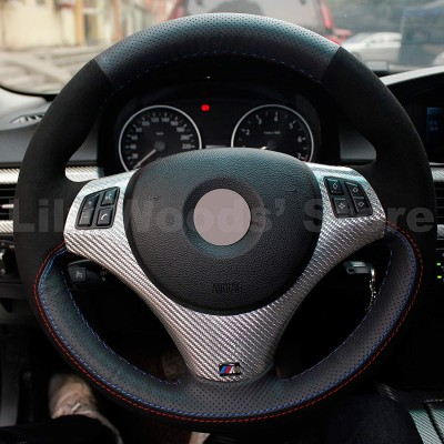 Loncky Auto Black Suede Black Genuine Leather Custom Steering Wheel Cover for BMW 128i 135i BMW 325i 328i BMW 328 xi BMW 328 i xDrive BMW 330 xi BMW 335i 335 xi BMW 335 d BMW 335 i xDrive Accessories Parts