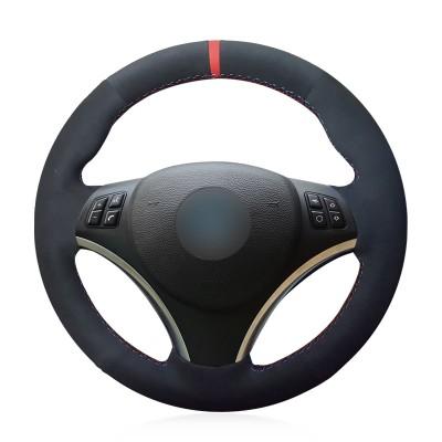Loncky Auto Black Suede Custom Fit Car Steering Wheel Cover for BMW 128i 135i BMW 325i 328i BMW 328 xi BMW 328 i xDrive BMW 330 xi BMW 335i 335 xi BMW 335 d BMW 335 i xDrive Accessories Parts