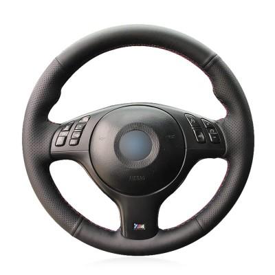 Loncky Auto Black Artificial PU Leather Custom Steering Wheel Cover for BMW 3 Series E46 E46/5 Series 2004-2005/5 Series E39 2002-2003 / M3 2001-2006 / M5 2000-2003 Accessories