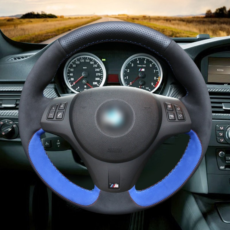 2011 Bmw M3: Loncky Auto Black Blue Suede Steering Wheel Covers For BMW