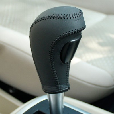 Loncky Black Genuine Leather Custom Gear Shift Knob Cover for Ford Fiesta Ford Focus 2 Automatic Accessories