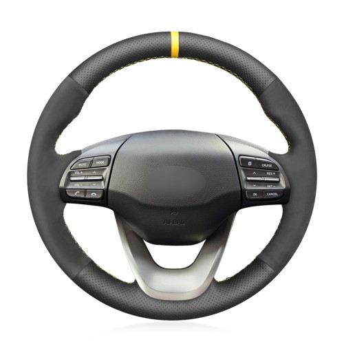 Loncky Auto Custom Fit Black Genuine Leather Black Suede Steering Wheel Cover for Hyundai Kona 2017 2018 2019 Accessories