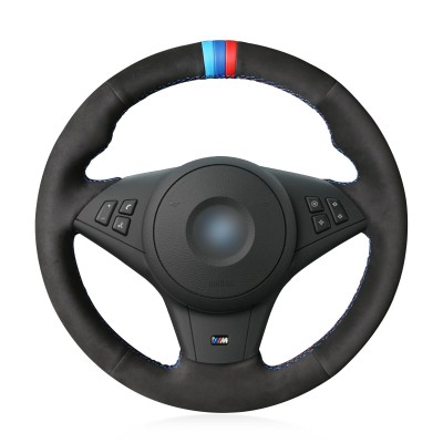 Loncky Auto Black Genuine Black Suede Leather Custom Fit Steering Wheel Cover for BMW E60 M5 2005-2008 E63 E64 Cabrio M6 2005-2010 Accessories (with bulges + M Mark on Steering Wheel, Genuine Leather)