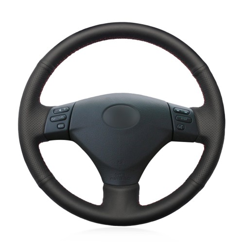 Loncky Auto Black Genuine Leather Custom Fit Steering Wheel Covers for Lexus RX330 RX400h RX400 2004 2005 2006 2007 Toyota Corolla Verso 2006 Camry 2004 2005 2006 Accessories