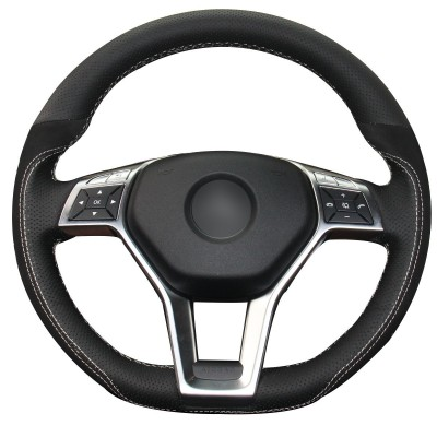 Loncky Auto Black Genuine Leather Black Suede Custom Steering Wheel Covers for Mercedes Benz C350 C250 C300 CLA250 CLS550 E250 E350 E400 E550 GLA45 AMG SL550 SL400 SLK250 SLK300 SLK350 Accessories