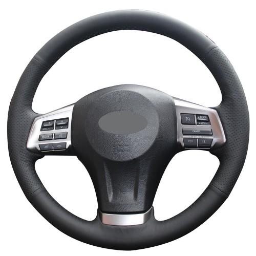 Loncky Auto Custom Fit OEM Black Genuine Leather Black Suede Steering Wheel Cover for 2014-2016 Subaru Forester /2013-2015 Subaru XV Crosstrek /2012-2014 Subaru Legacy /2012 2013 2014 2015 Subaru Impreza Accessories