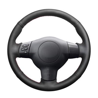 Loncky Auto Black Genuine Leather Custom Fit Steering Wheel Covers for Toyota Corolla 2004 2005 2006 Caldina 2002 2003 2004 2005 2006 2007 RAV4 2004 2005 Scion tC 2005-2008 2009 2010 Accessories