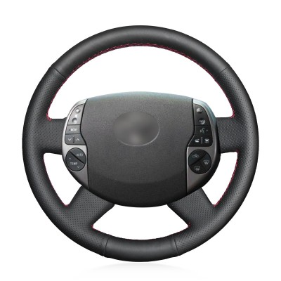 Loncky Auto Black Genuine Leather Custom Steering Wheel Covers for Toyota Prius 2004 2005 2006 2007 2008 2009 Interior Accessories