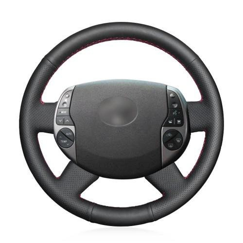Loncky Auto Black Genuine Leather Custom Steering Wheel Covers for Toyota Prius 2004 2005 2006 2007 2008 2009 Interior Accessories