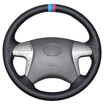 Loncky Auto Genuine Leather Car Custom Fit Steering Wheel Cover for 2007 2008 2009 2010 2011 Toyota Camry / 2008 2009 2010 2011 2012 2013 Toyota Highlander Interior Accessories