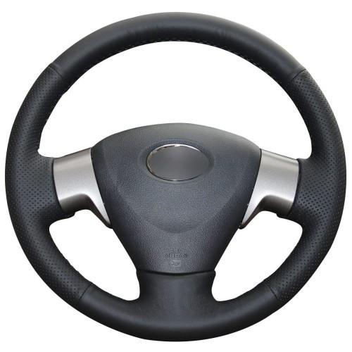 Loncky Auto Black Genuine Leather Car Custom Fit Steering Wheel Cover for Toyota Corolla 2009-2013 Matrix 2009-2010 Auris 2007-2009 Accessories