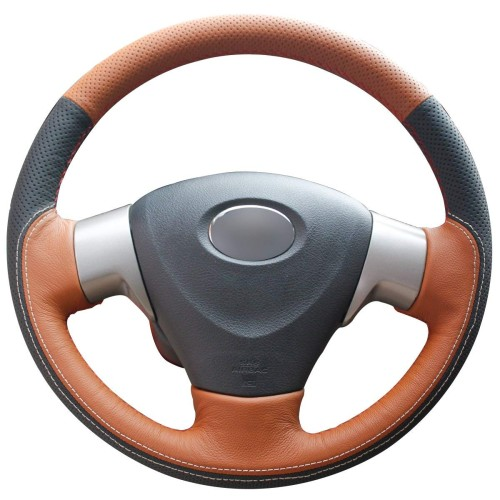 Loncky Auto Genuine Leather Car Steering Wheel Cover for 2009 2010 2011 2012 2013 Toyota Corolla LE 2009 2010 Toyota Corolla XLE 2012 2013 Corolla L 2009 2010 Toyota Corolla S Matrix Accessories