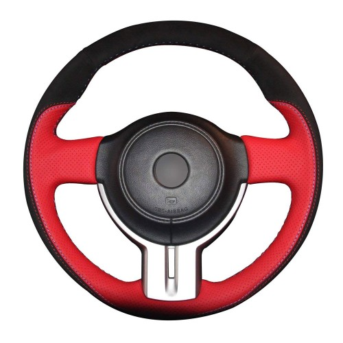 Loncky Black Genuine Leather Black Suede Auto Custom steering wheel covers for Scion FR-S 2013 2014 2015 2016 Subaru BRZ 2013 2014 2015 2016 / Toyota 86 Accessories